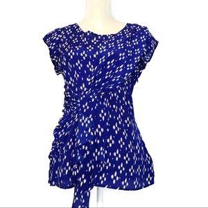 Anthropologie faux wrap silk blouse blue ruffle
